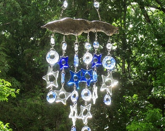 Blue and Clear Fused Glass Stars Beads and Metal Dangling Mobile Wind Chime Suncatcher