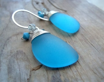SALE Aqua Sea Glass Earrings With Crystal Sterling Silver Summer Fashion Sea Glass Jewelry Mothers Day Gifts Modern Beachy Beach Weddings