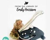 LIBRARY CUSTOM EMBOSSER - Desk-Top Seal Embosser, book worm, Embossing Stamp Seal, Wedding Housewarming, Personalized Desk Embosser, dm54