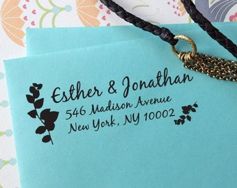 """CUSTOM self inking address STAMP with proof, Eco Friendly self inking custom address stamp, personalized custom stamper from USA """"Leaves"""""""