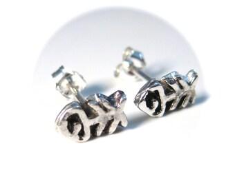 Fish Bones Stud Earrings, Sterling Silver Fish Earrings, Unisex or Mens Studs
