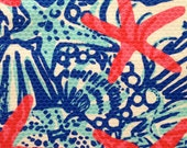 "lilly pulitzer's she she shells jacquard cotton fabric square 18""x18"""