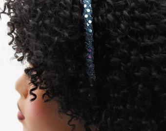 Headband, Natural Hair Headband, Hair Accessories, Hair Jewelry, Natural Hair, Hair Decor, Disco Fever Blue Sequin Headband