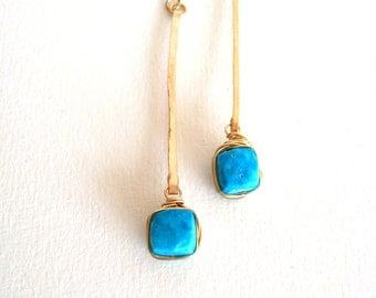 Turquoise Earrings Stick earrings Linear Modern Jewelry December birthstone Gift for her Under 65 Vitrine Designs