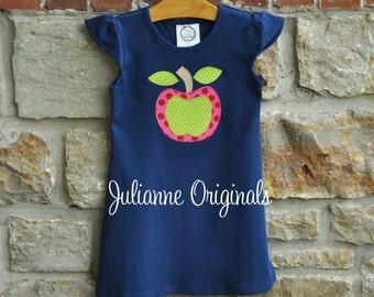 AWESOME APPLE Back to School - Custom Monogram Personalized Flutter Sleeve Navy Dress - 12m-8 years - Julianne Originals