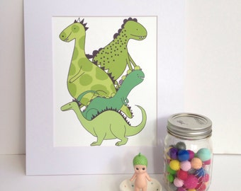 "Illustration Print -Dinosaur Love A4/8x10"""