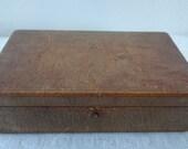 Vintage Brown Leather and Velvet Travel Jewelry Box 1940's - 1950's Original Mid Century Retro