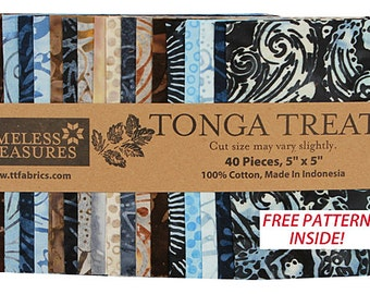 "SALE 50% Off SQ100 Timeless Treasures JUPITER BATIKS Precut 5"" Tonga Treat Minis Fabric Cotton Quilting Squares"