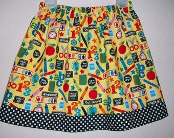 School Skirt with Apples Preschool Skirt with Crayons Kindergarten Skirt toddler skirt girls skirt School Dress First Day of School Outfit