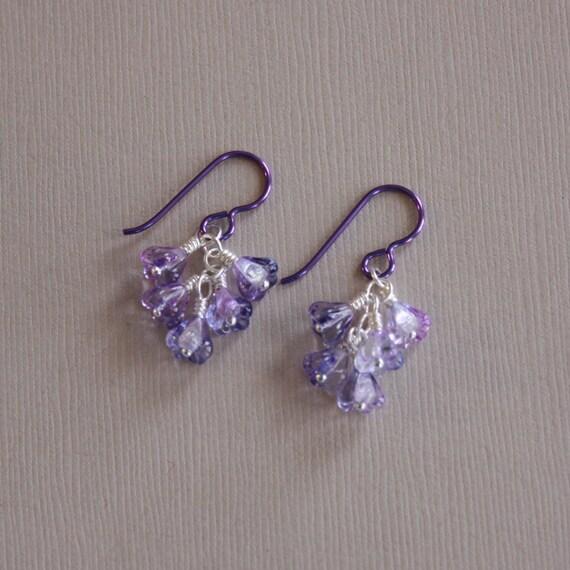 Niobium earrings purple Niobium with Czech glass by ...