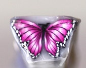 Hot Pink Butterfly Cane, Polymer Clay Flutterby, Fuschia Raw or Unbaked Cane