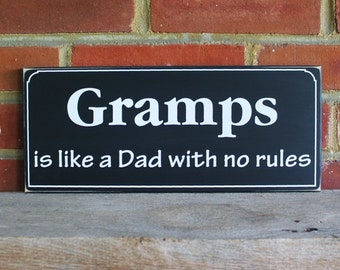 Gramps is like a Dad Wood Personalized Grandparent Sign Grandfather Saying Wall Decor Plaque