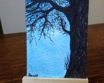 art - Winter Tree 1 - Original Watercolor ACEO