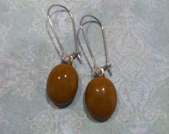 Brown Earrings, Kidney Wire Earrings, Brown Drop, Modern Fused Glass Jewelry - Brownie - -5
