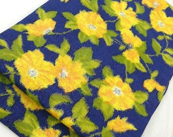 Lushly Patterned Blue Double Ikat with Yellow-Orange Flowers and Spring Green Leaves Tsumugi Silk Floral Kimono Fabric Tie Dye