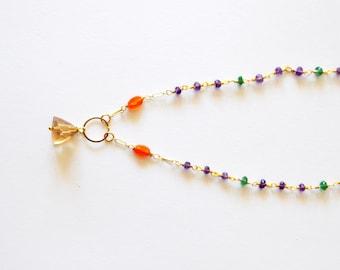 14k Gold Filled Handmade Geometric Minimalistic Beaded Necklace with Topaz Purple Amethyst Orange Carnelian and Green Onyx Gemstones