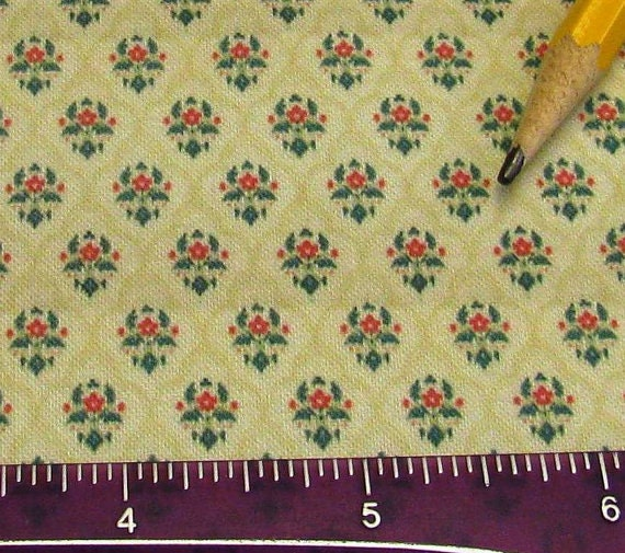 Dollhouse Miniature Victorian WALLPAPER Colonial Floral Damask