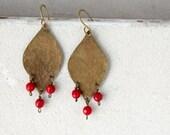 Gold brass leaf earrings, red coral gemstones, chandelier earrings, gypsy statement earrings