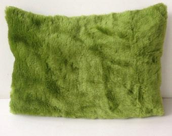 modern green moss furry soft grass pillow cover