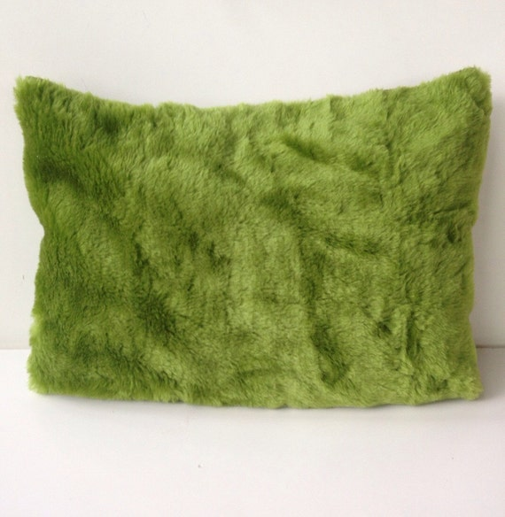 modern green moss furry soft grass pillow cover