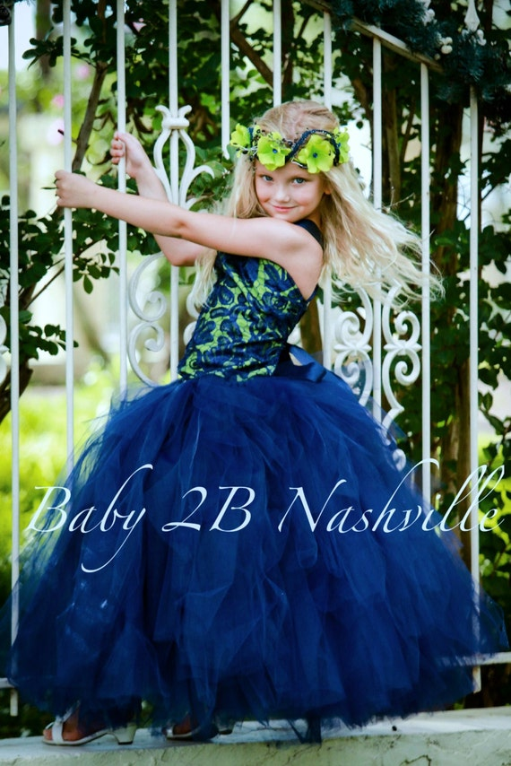 Vintage Dress Navy Dress Lace Dress Apple Green Dress Wedding Dress Flower Girl Dress Ruffle Dress Party Dress Birthday Dress Baby Dress