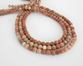 6mm Lepidolite Beads, 6mm Round Lepidolite Beads, Full 15 Inch Strand, Pink Gemstone Beads, Le206