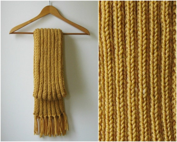 Ochre Wool Cute Chunky Knit Scarf, Wrap Long Fringes Scarf Winter Hand Knit Yellow Scarf Accessories Gift for Her Womens Scarves, Mens Scarf