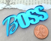BLUE BOSS CABOCHON - Mirrored Laser Cut Acrylic Cab