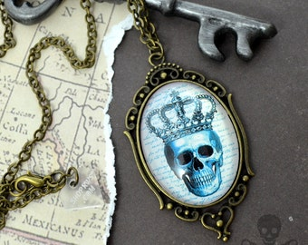 TEAL And BRONZE SKULL- Cameo Glass Cabochon Necklace