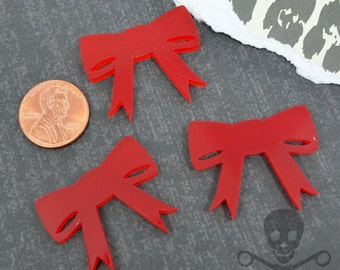 BRIGHT RED BOWS - Set of 3 Cabochons in Laser Cut Acrylic