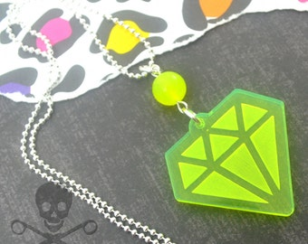 NEON DIAMOND - Neon Green Laser Cut Acrylic Charm Necklace