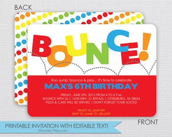 Bounce House Birthday Party Invitation - 2 sided - Instant Download & Editable File - Personalize at home with Adobe Reader