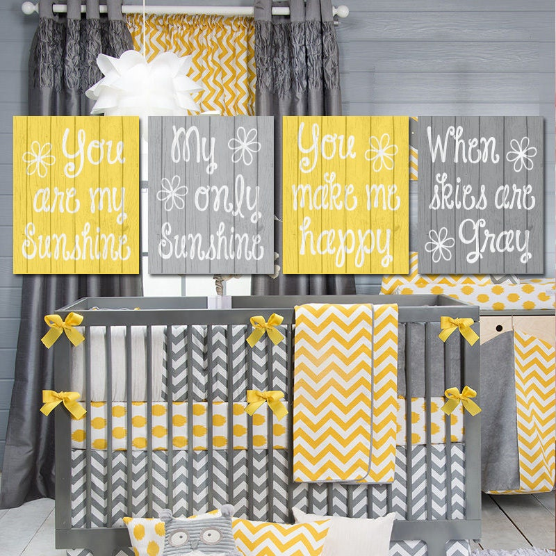 Nursery Ideas And Décor To Inspire You: Yellow Gray Nursery You Are My SUNSHINE Wall Art CANVAS Or