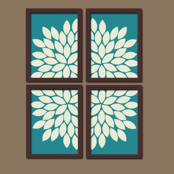 Teal Wall Art CANVAS Or Prints Flower Bedroom Design By TRMdesign