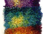 """Purple Fireflower Rya Kit  16 inch x 16"""" .  Virgin Wool rya yarn on Wool and linen backing with pattern drawn on the backing for you."""