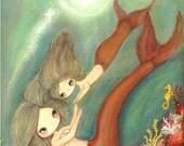 Mermaid Print Mom Daughter Art Mother's Day Coral Girl Seashell Nursery Art---The Sunny Sea