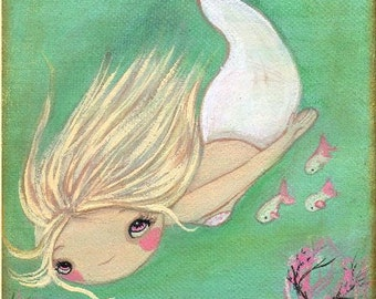 Mermaid Print Cute Fish Art  Girl Nautical Wall Print---The White Mermaid