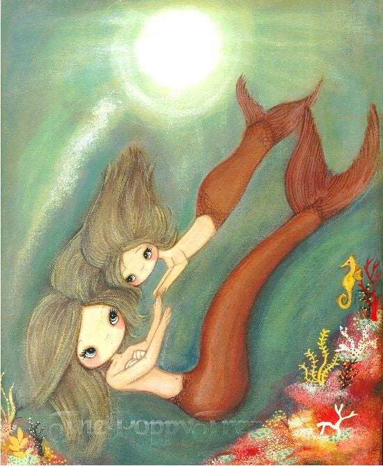 Mermaid Gifts Mermaid Decor Mermaid Art Print Mother S: Mermaid Print Mom Daughter Art Mother's Day Coral Girl