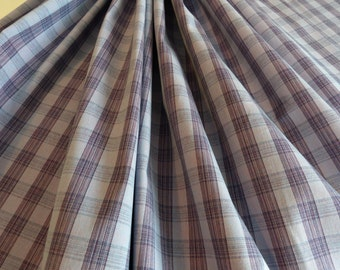 Woven Lavender And Plum Check Drapery Upholstery Fabric 9 Yards