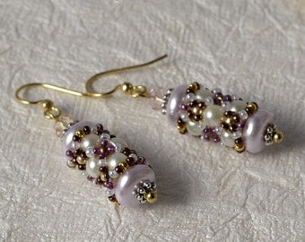 SALE Beadwoven earrings in pink