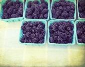 Blackberries fruit still life / modern rustic kitchen art / fruit food photograph / farmhouse kitchen / cobalt blue / 'Bushel of Berries'