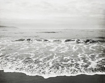 "Beach Photography Black White Large Wall Art Ocean Photography Charcoal Gray California Winter Beach  ""Black Sand"""