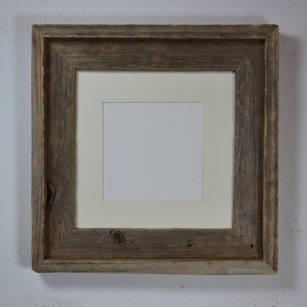 8x8 Wood Picture Frame With Mat For 6x6 Or 5x5 By Barnwood4u