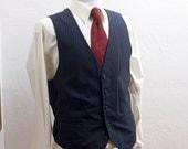 Men's Suit Vest / XL / Vintage Navy Pinstripe Waistcoat / size 46