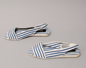 size 10 STRIPE canvas 80s 90s WEDGE ESPADRILLE slingback sandals