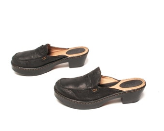 size 10 CLOGS black leather 80s 90s PLATFORM slip on high heel MULES