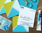 Three Triangle Calling Cards / Business Cards/ Blogger Cards - Set (50) Chartreuse Aqua Turquoise