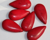 10 pcs of Howlite Turquoise teardrop beads 29X14.5mm - Dyed Red