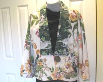 Swing jacket made of vintage bark cloth fabrics, Asian theme, size small