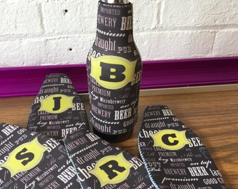 Beer Bottle Cozy - Huggie - Personalize your 12oz Beer Bottle Sleeve with Monograms & Patterns